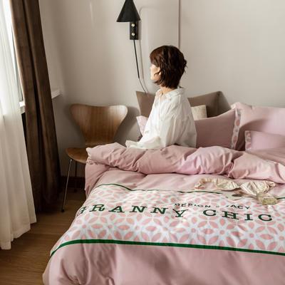 2021新款轻奢中古系列数码拼接全棉磨毛套件 1.8m床单款四件套 戴安娜粉