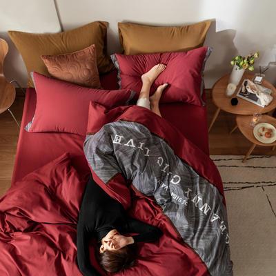 2021新款轻奢中古系列数码拼接全棉磨毛套件 1.8m床单款四件套 莫妮卡红