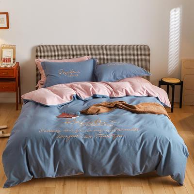 2021新款复古轻奢刺绣古系列全棉磨毛四套件 1.8m床单款四件套 芭比蓝粉