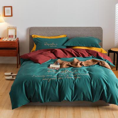 2021新款复古轻奢刺绣古系列全棉磨毛四套件 1.8m床单款四件套 古奇红绿