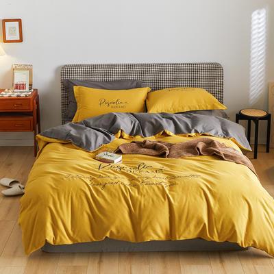2021新款复古轻奢刺绣古系列全棉磨毛四套件 1.8m床单款四件套 贾斯丁黄灰