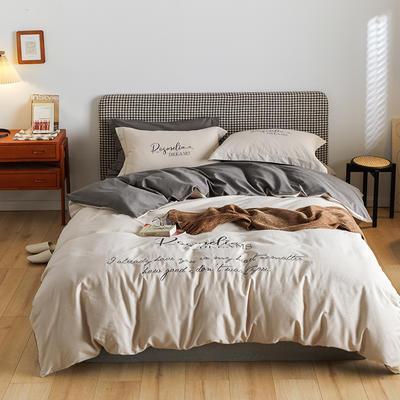 2021新款复古轻奢刺绣古系列全棉磨毛四套件 1.8m床单款四件套 亚麻米灰