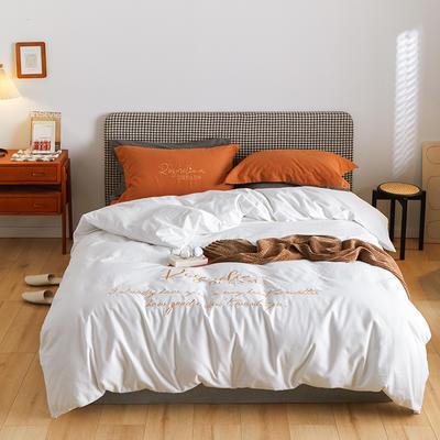2021新款复古轻奢刺绣古系列全棉磨毛四套件 1.8m床单款四件套 亚瑟白橘