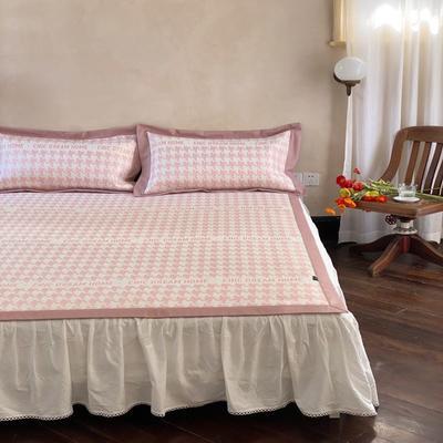 2021新款少女系列水洗抗菌养生席—床席款 1.8m床席款 千鸟格-粉