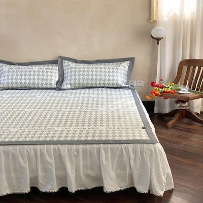 2021新款少女系列水洗抗菌养生席—床席款 1.8m床席款 千鸟格-灰