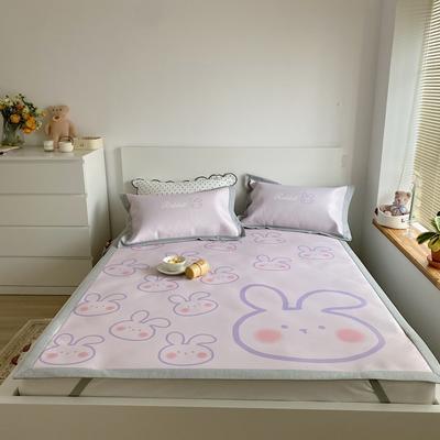 2021新款卡通系列净洗抗菌养生凉席三件套 1.8三件套 紫色兔子