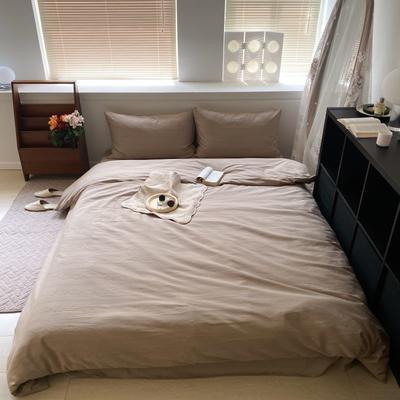 2021新款60s轻奢复古水洗棉提花套件 1.8m床单款四件套 尤克丝丽-复古米色