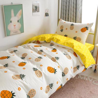 2020新款学生宿舍三件套单人1.2米床上用品全棉床单被套被褥六件套 0.9m床三件套 菠萝
