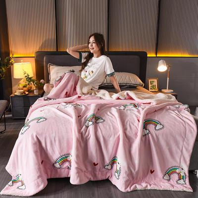 2020新款双层加厚法莱绒羊羔绒毛毯盖毯珊瑚绒牛奶绒毯法兰绒床单休闲毯儿童毯印花毯子 150*200cm 彩虹