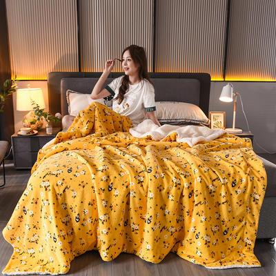 2020新款双层加厚法莱绒羊羔绒毛毯盖毯珊瑚绒牛奶绒毯法兰绒床单休闲毯儿童毯印花毯子 150*200cm 楚楚花颜 黄