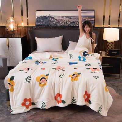2020新款双层加厚法莱绒羊羔绒毛毯盖毯珊瑚绒牛奶绒毯法兰绒床单休闲毯儿童毯印花毯子 180*200cm 美乐蒂