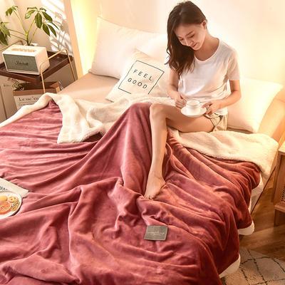 2020新款双层加厚羊羔绒被套毛毯多功能毯子法莱绒毯被罩沙发毯空调毯汽车午睡毯 180x220cm 豆沙被套款
