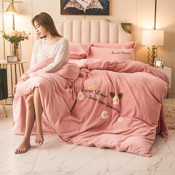 2020新款加厚冬季毛巾绣法莱绒牛奶绒四件套学生三件套被套床单珊瑚绒四件套—小雏菊