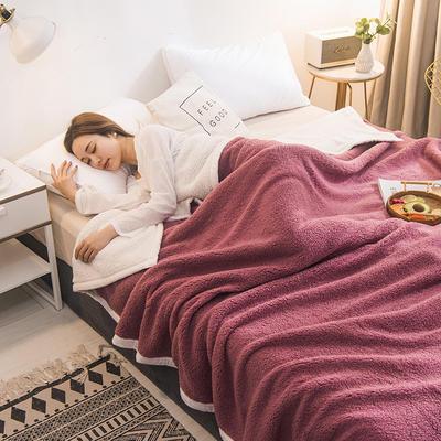 2020新款双面双层羊羔绒毯子冬季加厚午睡盖毯珊瑚绒床单人学生宿舍毯子法莱绒 100*120cm 豆沙