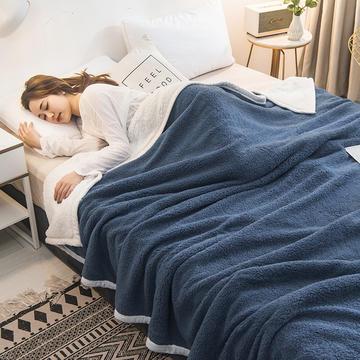 2020新款双面双层羊羔绒毯子冬季加厚午睡盖毯珊瑚绒床单人学生宿舍毯子法莱绒
