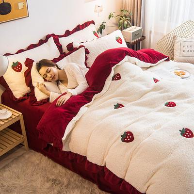 2020新款冬季加厚毛巾绣羊羔绒四件套牛奶绒四件套法莱绒套件床单被套学生三件套 1.5m床单款四件套 草莓-酒红