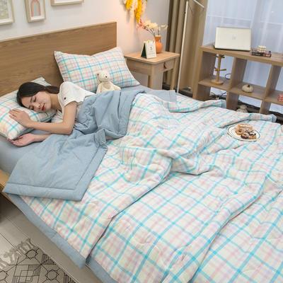 2021新款全棉色织水洗棉夏被四件套棉花空调被 床单 180*230 cm 冰激凌(蓝色)