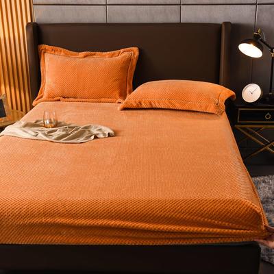 2021新款贝贝绒法莱绒牛奶绒床笠加厚保暖床笠三件套 120cmx200cm 橙色