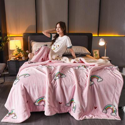 新款双层加厚法莱绒羊羔绒毛毯盖毯珊瑚绒牛奶绒毯法兰绒床单休闲毯儿童毯印花毯子 150*200cm 彩虹