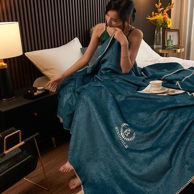 2021新款双层复合华夫格牛奶绒毛毯法莱绒多功能毯休闲盖毯 150*200cm 华夫格-宝石蓝