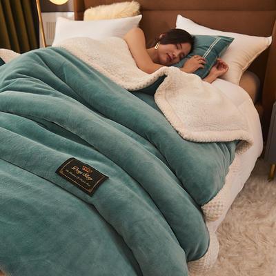 2021新款牛奶绒被套羊羔绒毛毯多功能毯被套 180x220cm 毛毯/被套两用 宾利蓝
