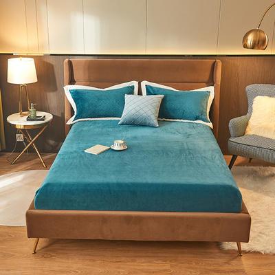 2021新款牛奶绒床笠法莱绒床笠三件套 纯色单床笠 120cmx200cm 宝石蓝