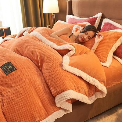 2021新款加厚贝贝绒牛奶绒四件套法莱绒被套多功能毛毯 180*220单被套 贝贝绒-橙色