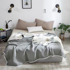 2018 色织提花全棉针织夏被 150x200cm 条纹 灰