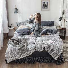 2018新品秋冬牛奶绒剪花保暖四件套(模特款) 1.5m(5英尺)床 简灰 模特
