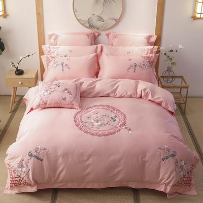60s支长绒棉埃及棉新中式古典古风刺绣花四件套多件套 1.8m(6英尺)床 花嫁-粉玉
