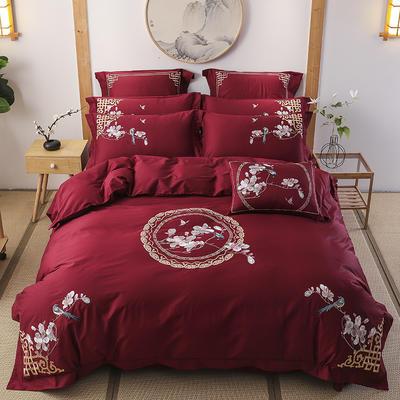 60s支长绒棉埃及棉新中式古典古风刺绣花四件套多件套 1.8m(6英尺)床 花嫁-酒红