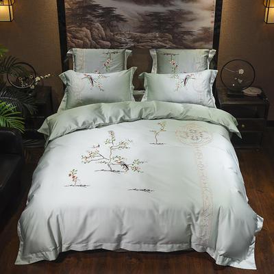 60s支长绒棉埃及棉新中式古典古风刺绣花四件套多件套 花香晓梦 1.8m(6英尺)床 花香晓梦
