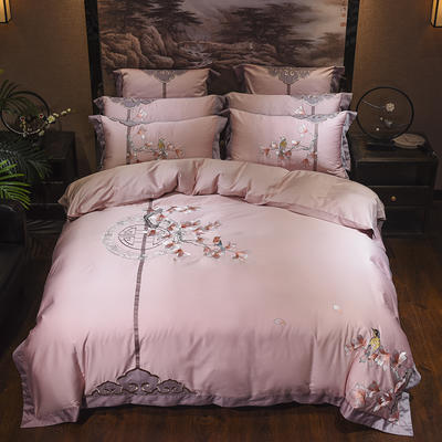 60s支长绒棉埃及棉新中式古典古风刺绣花四件套多件套 丹枫白露-粉咖 1.8m(6英尺)床 丹枫白露-粉咖