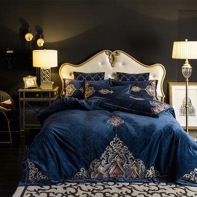 (总)新款宝宝绒欧式绣花四件套 1.8m(6英尺)床 2.0m(6.6英尺)床 靠垫套不含芯/对