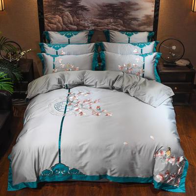 (总)60s支长绒棉埃及棉新中式古典古风刺绣花四件套多件套2 1.5m(5英尺)床 丹枫白鹭灰