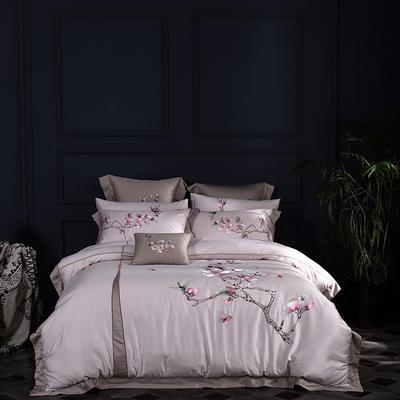 (总)60s支长绒棉埃及棉新中式古典古风刺绣花四件套多件套3 1.5m(5英尺)床 繁花似锦咖