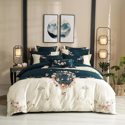 60s支长绒棉埃及棉新中式古典古风刺绣花四件套多件套—清风徐来 1.5m(5英尺)床 清风徐来 白