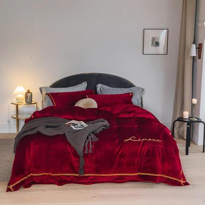 2019新款宝宝绒北欧简约ins风格水晶绒四件套 1.5m(5英尺)床 暖红