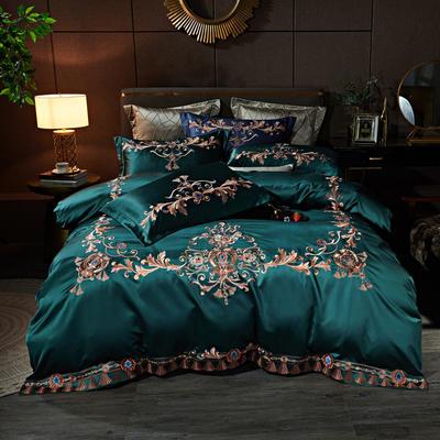 2020新款60支长绒棉重磅真丝棉刺绣套件(控价600/630) 1.5m(5英尺)床 维也纳戴安绿