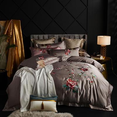 2020新款60支长绒棉重磅真丝棉刺绣套件(控价600/630) 1.5m(5英尺)床 富贵牡丹水咖