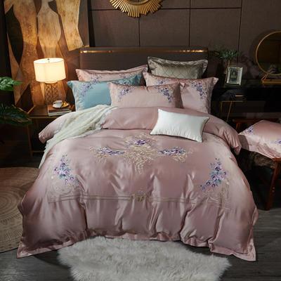 2020新款60支长绒棉重磅真丝棉刺绣套件(控价600/630) 1.5m(5英尺)床 赫本情怀萝莉粉