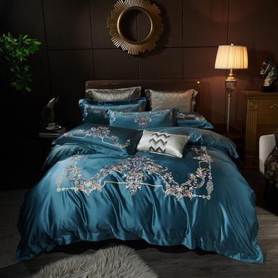 2020新款60支长绒棉重磅真丝棉刺绣套件(控价600/630) 1.5m(5英尺)床 维也纳晚唐兰