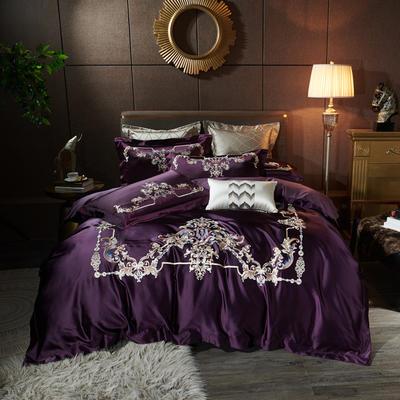 2020新款60支长绒棉重磅真丝棉刺绣套件(控价600/630) 1.5m(5英尺)床 维也纳优雅紫