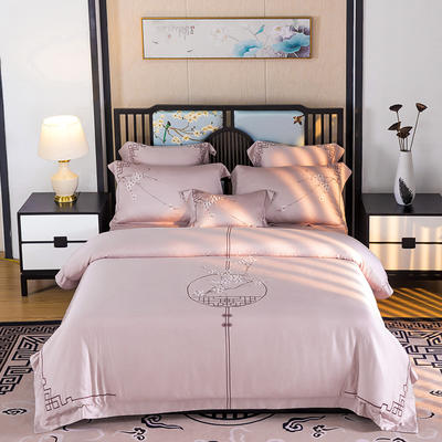黎萌居2020新款 60支s兰精天丝四件套 纯棉天丝新中式刺绣 1.5m(5英尺)床 花意阑珊