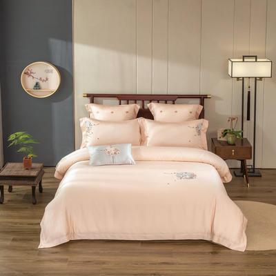 黎萌居2020新款 60支s兰精天丝四件套 纯棉天丝新中式刺绣 1.5m(5英尺)床 慕容
