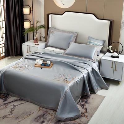 2020新款600D可水洗全冰丝绣花凉席床单三件套席子 1.5m(5英尺)床三件套 锦庭灰