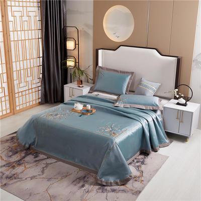 2020新款600D可水洗全冰丝绣花凉席床单三件套席子 1.5m(5英尺)床三件套 锦庭绿