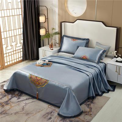 2020新款600D可水洗全冰丝绣花凉席床单三件套席子 1.5m(5英尺)床三件套 御宫青