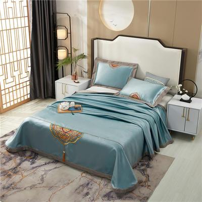 2020新款600D可水洗全冰丝绣花凉席床单三件套席子 1.5m(5英尺)床三件套 御宫绿