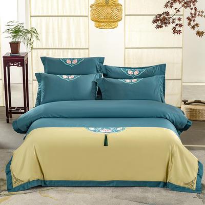 (总)60s支长绒棉埃及棉新中式古典古风刺绣花四件套多件套3 1.5m(5英尺)床 沐婉清黄绿
